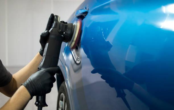 car detailing concept. auto cleaning and polish. - close up auto foto e immagini stock