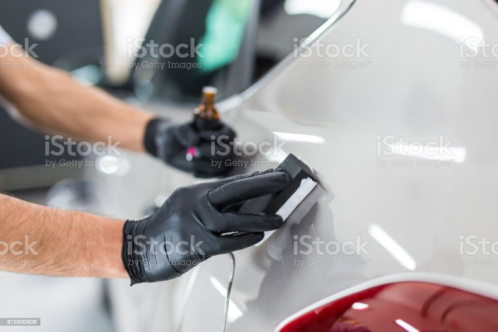 Car detailing concept. Auto cleaning and polish. stock photo