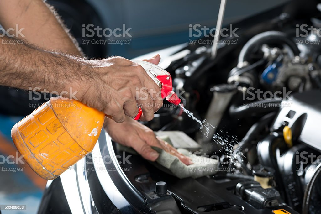 Car detailing series : Cleaning car engine stock photo