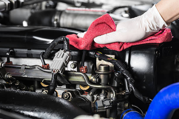 car detailing series : cleaning car engine - rag stock pictures, royalty-free photos & images