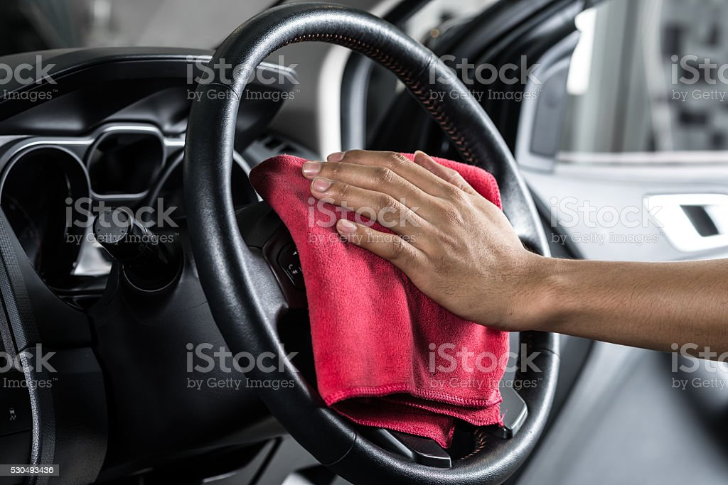 Car detailing series : Cleaning car interior stock photo