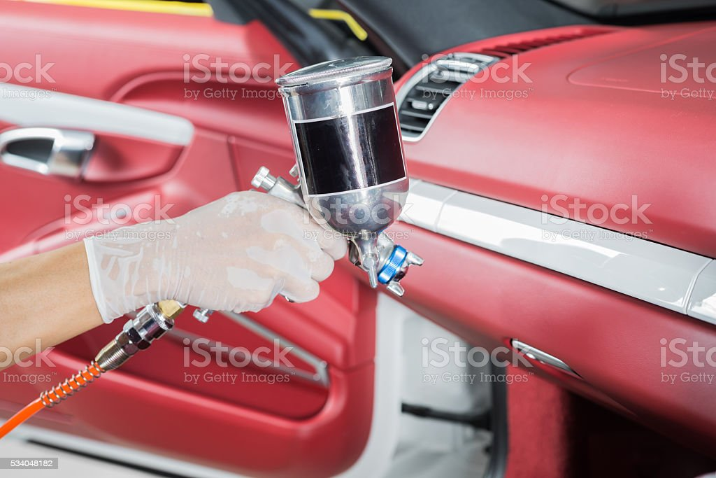 Car detailing series : Coating glove compartment stock photo