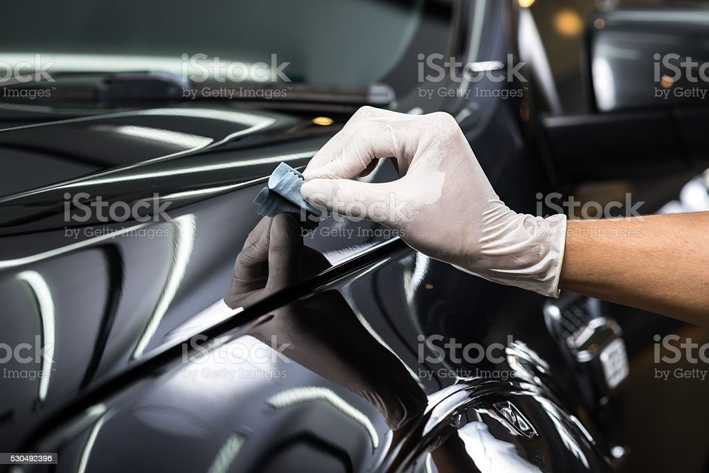 Car detailing series : Glass coating stock photo