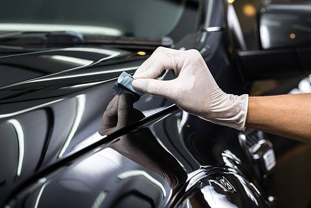 Car detailing series : Glass coating stock photo