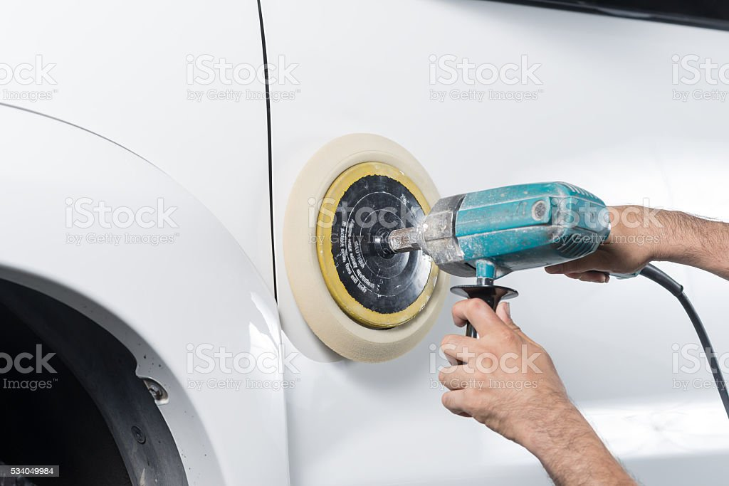 Car detailing series : Polishing white truck stock photo