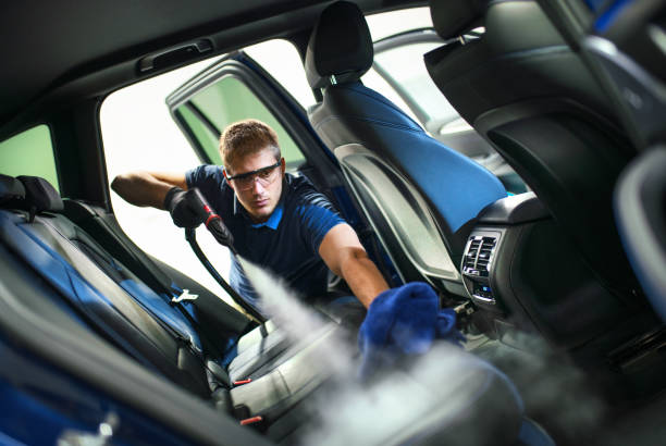 Car detailing service deep interior cleaning. stock photo