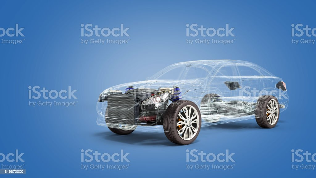 car diagnostic concept black car studio view 3d render image stock photo