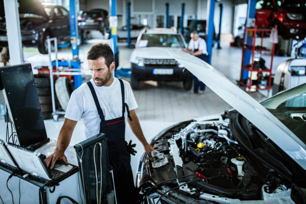 Car diagnostics in a repair shop! stock photo