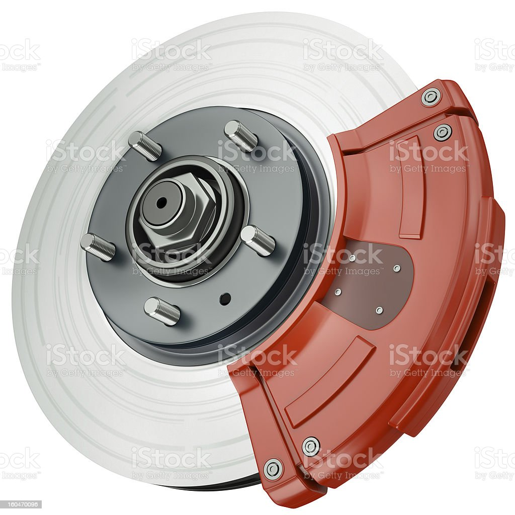 Car disc brake, part of automotive braking system stock photo