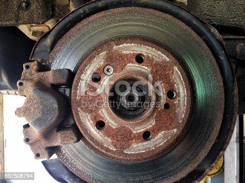 Old rusty disc brake for passenger car
