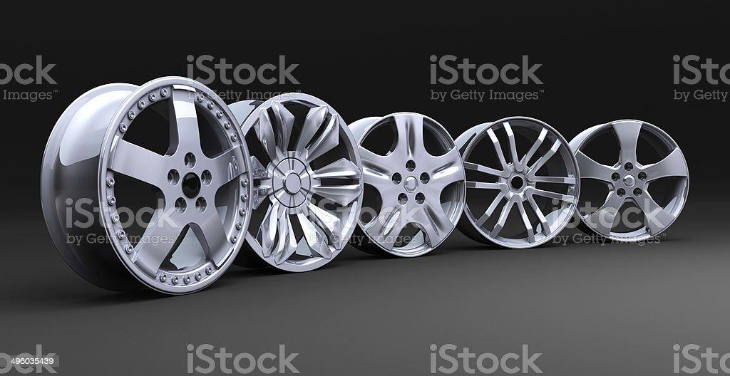 Car disc row stock photo