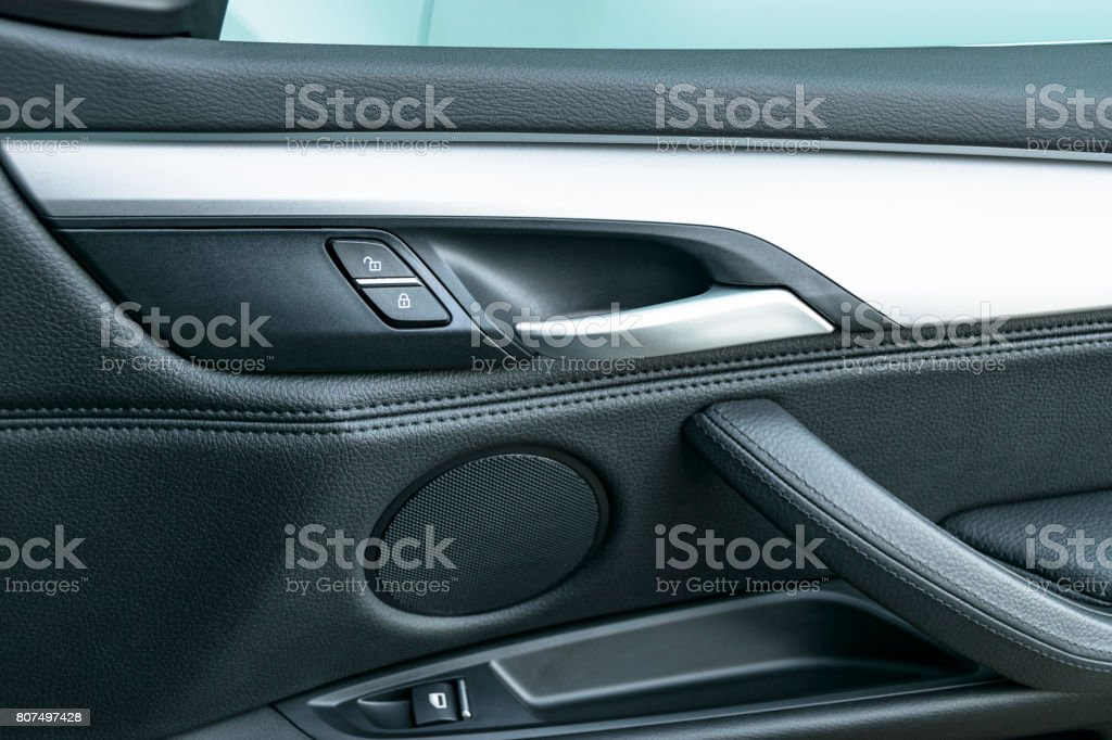 Car Door Handle Inside The Luxury Modern Car With Black Leather And ...
