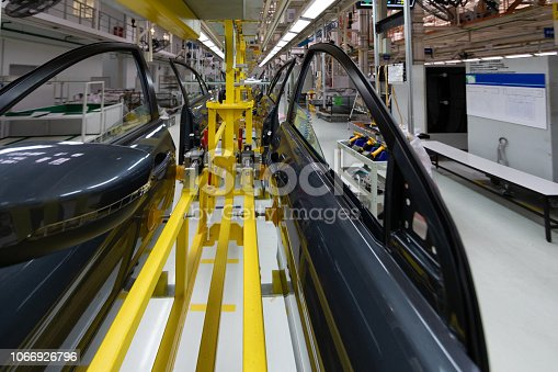 1069360792 istock photo car door on conveyor. Robotic equipment makes Assembly of car. Modern car Assembly at factory 1066926796