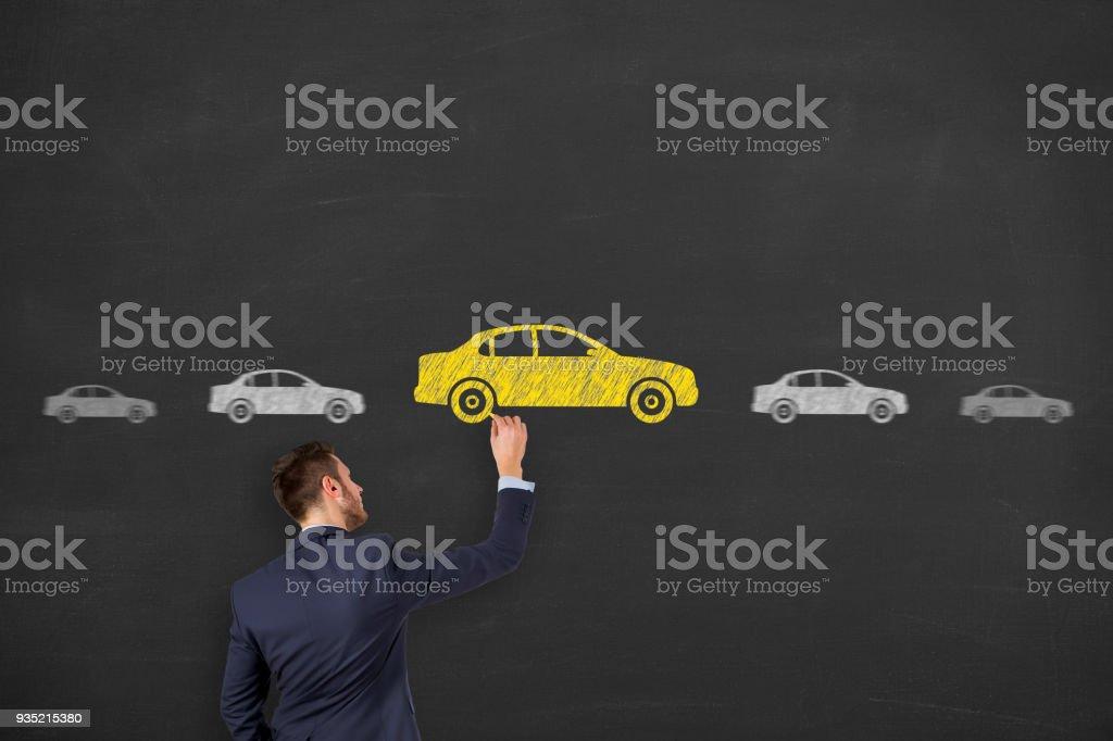 Car Drawing Choose on Blackboard stock photo