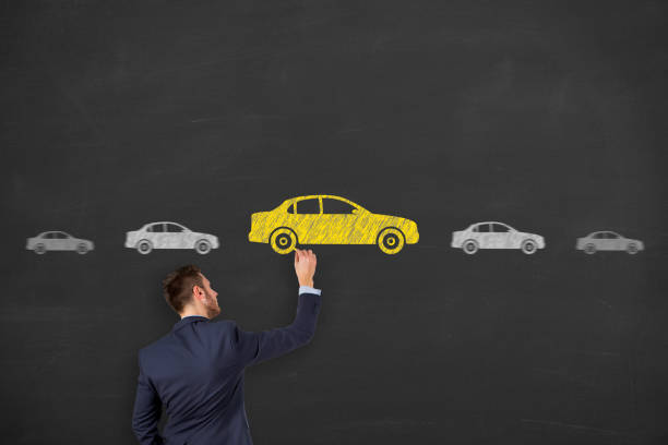 Car Drawing Choose on Blackboard stock photo