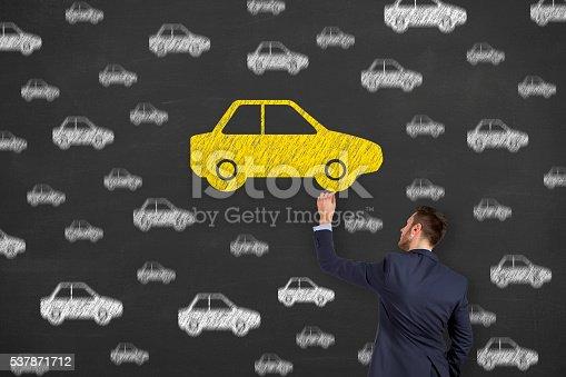 istock Car Drawing Chosen on Blackboard Background 537871712