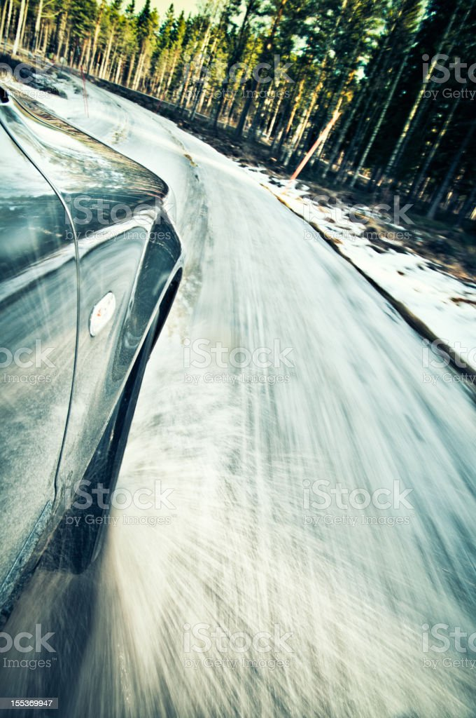 Car driven off road on the snow royalty-free stock photo