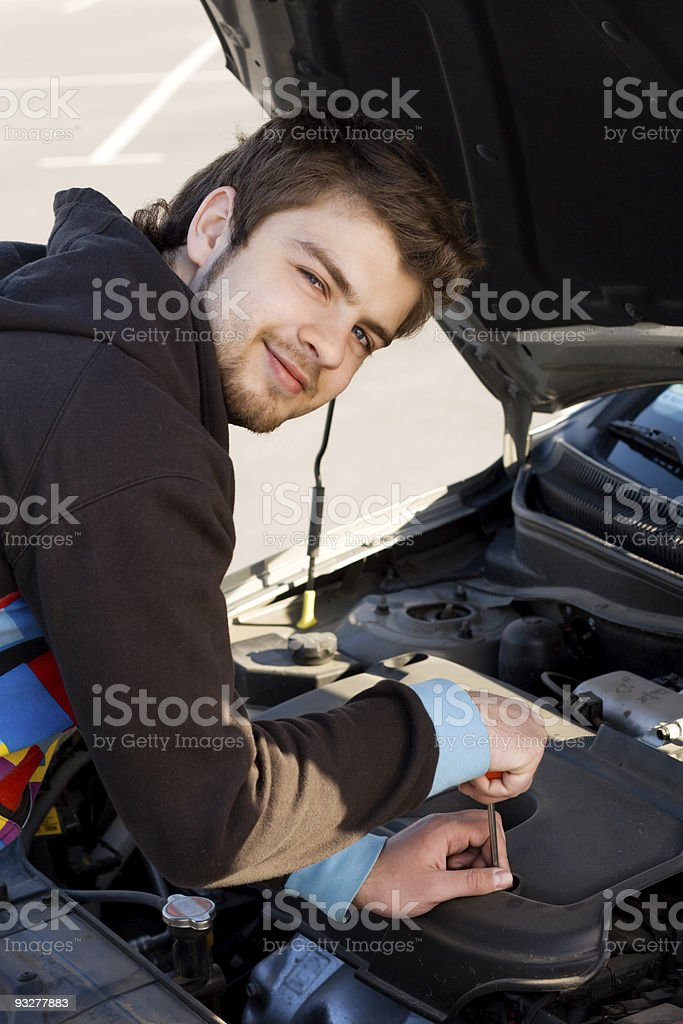 Car driver examining the car's engine royalty-free stock photo