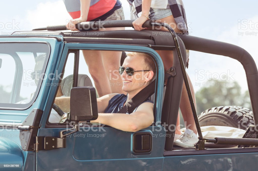 Car driver with sunglasses stock photo