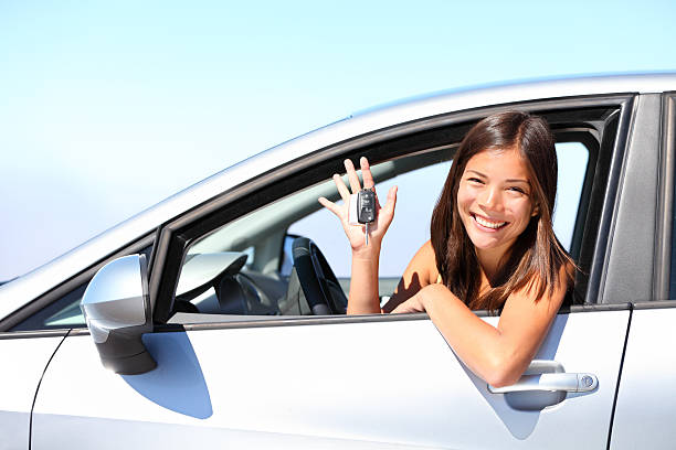 Car driver woman stock photo