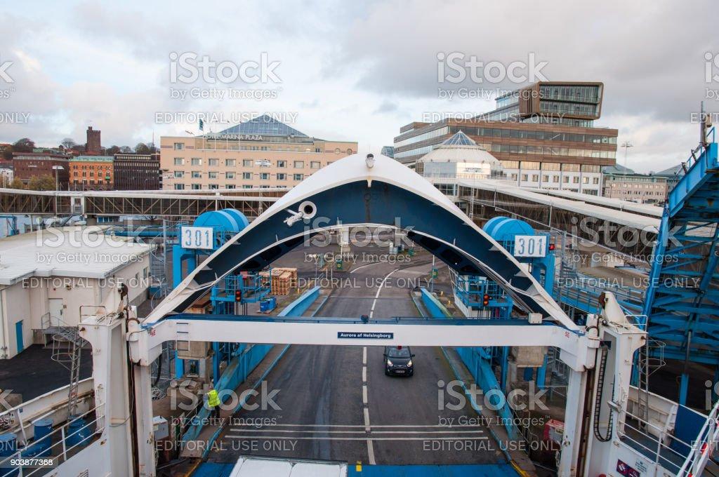 Car driving aboard Scandlines ferry Aurora af Helsingborg stock photo