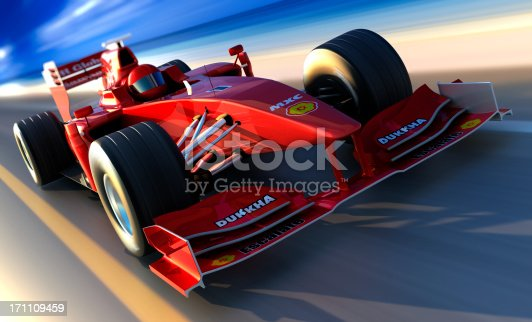 istock F1 car driving along beach, clipping path included 171109459