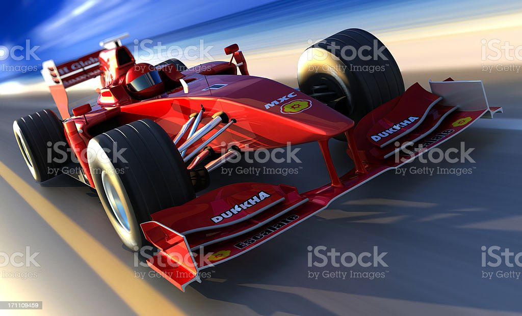 F1 car driving along beach, clipping path included stock photo