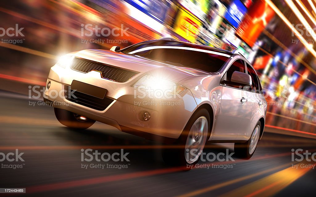 SUV Car driving fast in urban environment stock photo