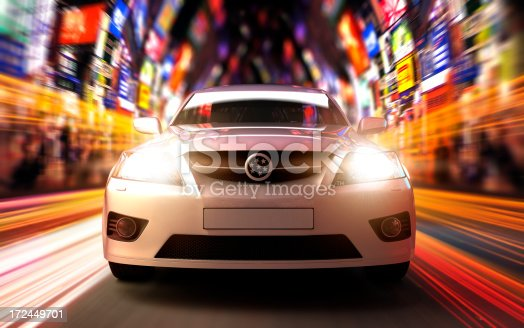 istock Car driving fast in urban environment 172449701