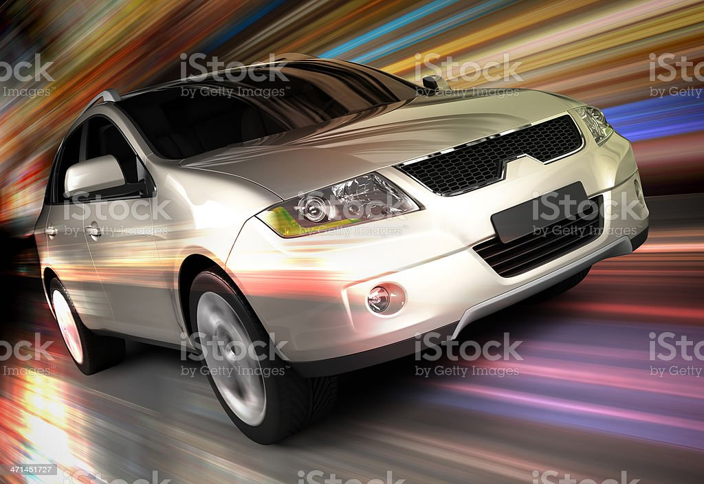 SUV car driving fast royalty-free stock photo