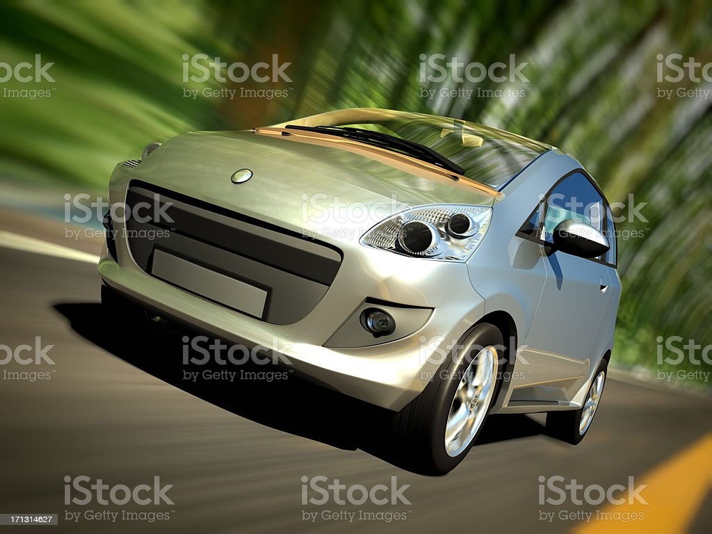 Car driving forest road - clipping path included royalty-free stock photo