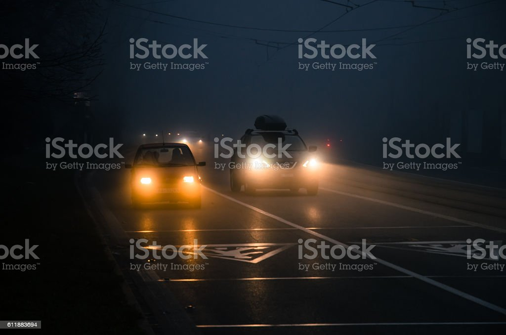 car driving in foggy weather – Foto