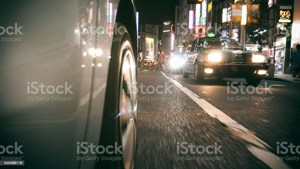 Car driving in Shibuya Japan stock photo