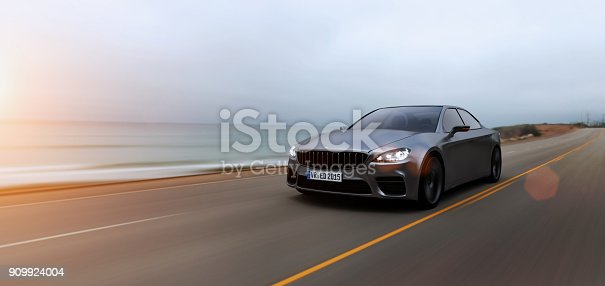 view from side of fast moving car, motion blur,  3D, car of my own design.