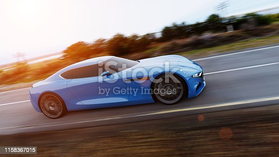 istock car driving on a road 1158367015