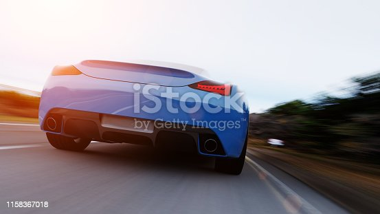 istock car driving on a road 1158367018
