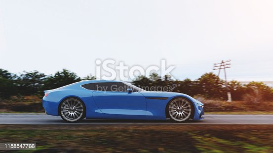 istock car driving on a road 1158547766