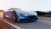 front view of fast moving car, mountain road, motion blur,  3D, car of my own design.