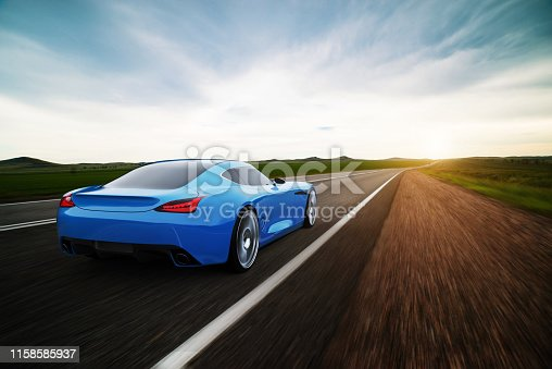 view from rear of fast moving car, road in fields, motion blur,  3D, car of my own design.