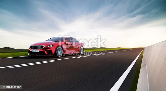 front view of fast moving generic car, motion blur,  3D, car of my own design.