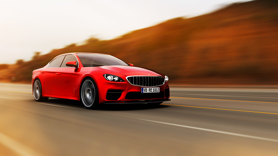 front view of fast moving red generic car, motion blur,  3D, car of my own design.