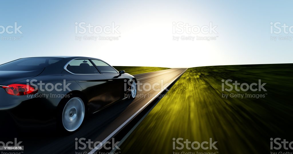 car driving on a sunset road stock photo