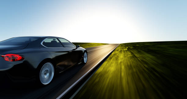 car driving on a sunset road view from side of fast moving car, motion blur,  3D, car of my own design. car stock pictures, royalty-free photos & images