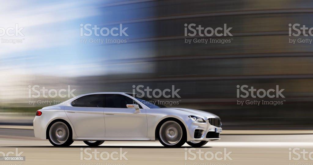 car driving on urban road stock photo