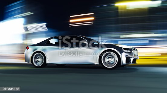 urban view from side of fast moving car, motion blur,  3D, car of my own design.
