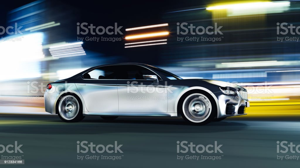 car driving on urban road - foto stock