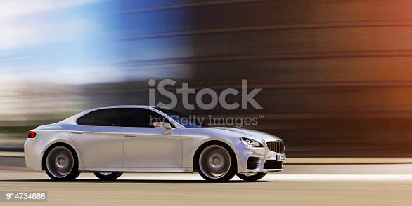 urban view from side of fast moving car, motion blur,  3D, car of my own design. Photorealistic render.