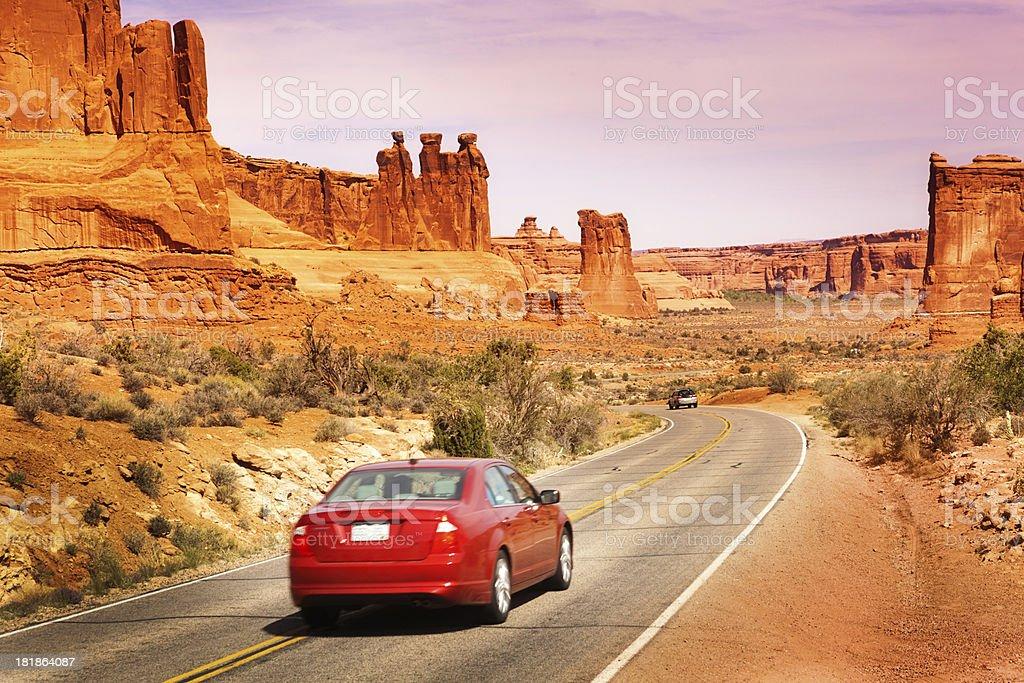 Car Driving, Road Trip Touring at Arches National Park, Utah stock photo