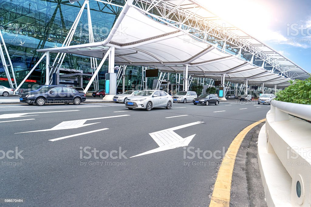 car driving to Guangzhou Baiyun airport stock photo