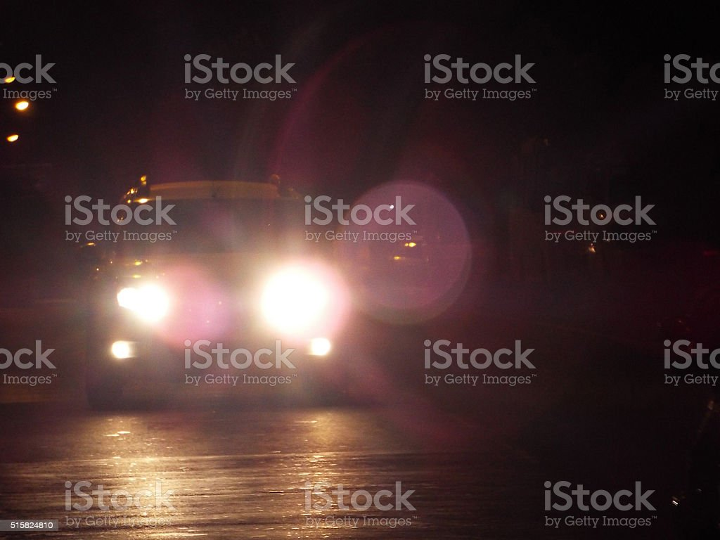 car driving-in the night stock photo